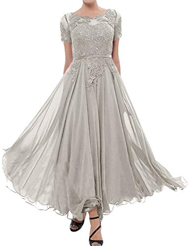 Tea Length Mother of The Bride Dress Short Sleeve Formal Party Gowns Silver 16W (Best Mother Of The Bride Gowns)