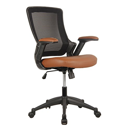 TECHNI MOBILI Mid-Back Mesh Task Office Chair with Height Adjustable Arms – Brown