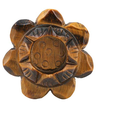 TUMBEELLUWA Carved Stone Candle Holder Lotus Flower Healing Crystal Ball Stand Home Decoration,Tiger's Eye