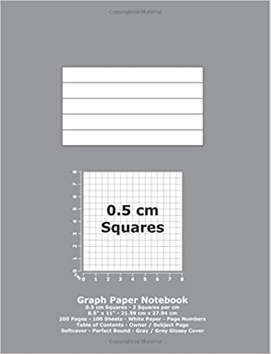 Graph Paper Notebook: 0.5 cm Squares - 8.5' x 11' - 21.59 cm x 27.94 cm - 200 Pages - 100 Sheets - White Paper - Page Numbers - Table of Contents - Gray / Grey Glossy Cover