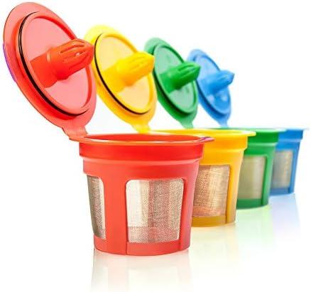 GoodCups 4 Reusable K CUPs for Keurig K-Classic, K-Elite, K-Select, K-Cafe, K-Compact, K200, K300, K400, K500, 4 Colors Refillable Kcups