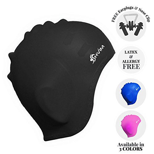 Shvim Swimming Hat For Long Hair With Ear Protect Pouch Design For Adults & Kids - Allergy Free Waterproof Durable Anti Rip Silicone Bathing Cap Hat - Bundle Combo With Noseclip + Ear Plugs (Black)