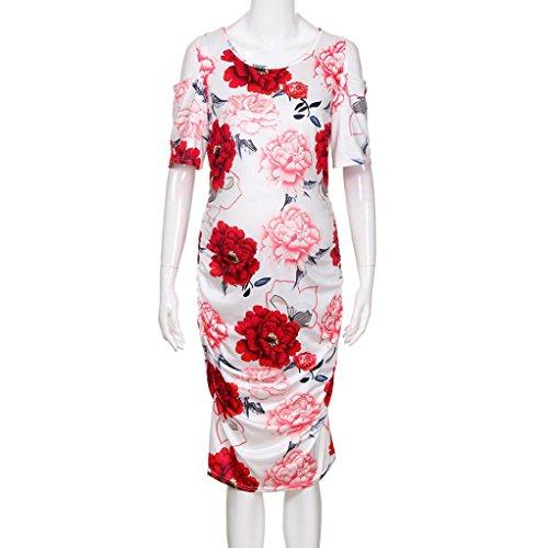 921e55c1169 Manche Rouge De Cou Genou Robe D été Mode Rond Femmes Col Au Jupe Vêtements  Soirée Élasticité Élégant Femme Adeshop Fleurs ...