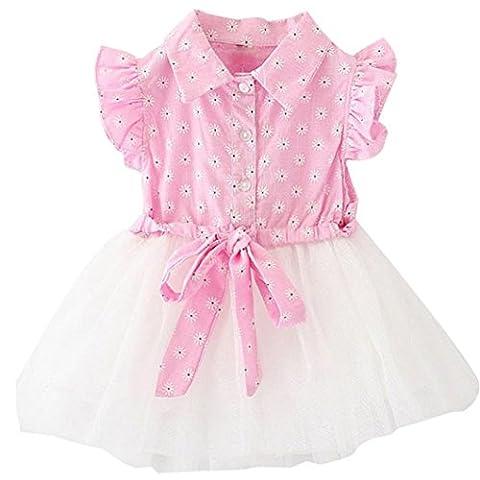 Mosunx(TM) Girls Cute Summer Sweet Gauze Flowers Dress Tutu Dress (4T, Pink) - Summer Infant Sweet