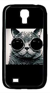 Samsung Galaxy S4 I9500 Black Hard Case - Cat Wearing Sunglasses Galaxy S4 Cases