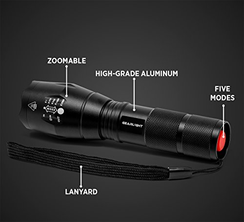 GearLight LED Tactical Flashlight S1000, 2 PACK