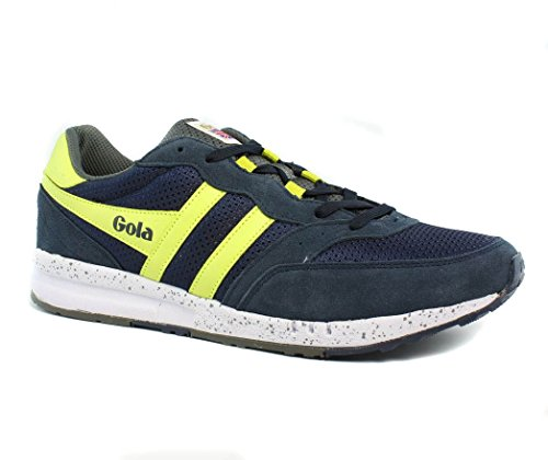 Gola Men's Samurai Fashion Sneaker, Navy/Grey/Acid Yellow, 13 M US