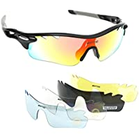 Wantdo Polarized Sports Sunglasses with 5 Interchangeable Lenses for Men Women,TR90 Unbreakable Frame Cycling Glasses for Cycling Running Driving Fishing Mountain Climbing Golf Sun Glasses