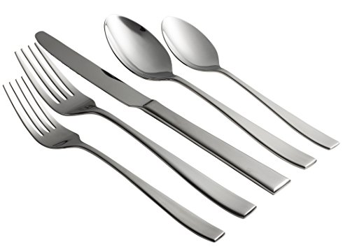 Stainless 4 Dinner Knives (Jaf Gifts 20 Piece Flatware Set With Silver Sandblast Finish - Stainless Steel Cutlery Service For 4 With Soup Spoon, Teaspoon, Dinner Knife, Dinner And Salad Fork)