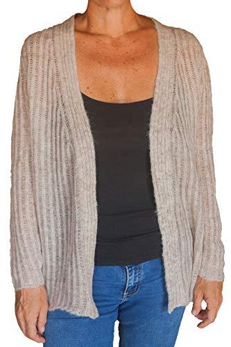 TINKUY PERU 100% Baby Alpaca Wool Women´s Oversized Cropped Jersey Beige Crepe Knit Pullover Sweater (Medium) (Large) ()