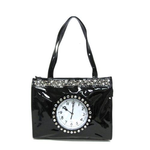 - Unique Patent Leather Tote Clock Bag with Jewel Crystal Studs - Black