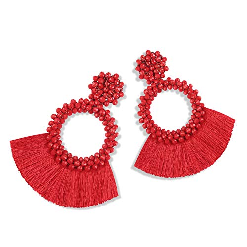 Statement Tassel Bead Earrings for Women, Drop Dangle Round Beaded Hoop Fringe Bohemian Earrings Women Girl Novelty Fashion Summer Accessories - E1 Red