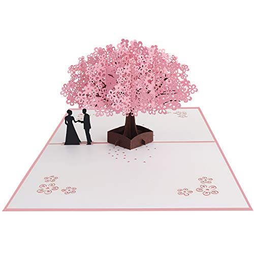 Wedding Day Blossoms - Valentine's Day Pop up card, QcoQce 3D greeting card anniversary Card to celebrate your loved ones with Envelopes for Wedding Birthday Anniversary, Folds Flat for Mailing (CHERRY BLOSSOM)