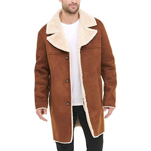 DKNY mens Faux Shearling Walking Coat With Faux Fur Collar