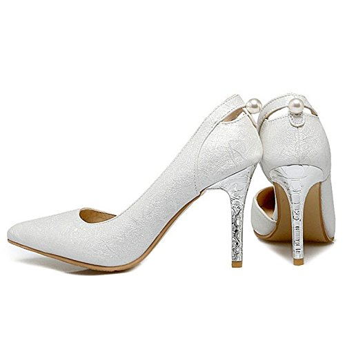 SJJH Stiletto Women Sandals Large Size Official Court Shoes All Match High Thin Heel Sandal Shoes White TaUnhw