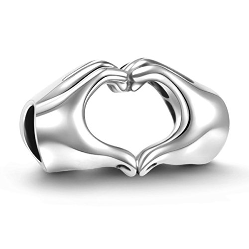 925 Sterling Silver Love Heart Charm Fit for Pandora/European Style Charm Bracelets