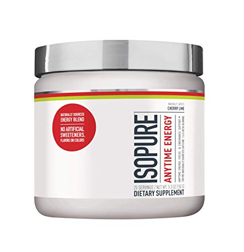 Isopure Anytime Energy – Supports Energy, Mood, and Endurance – Cherry Lime Flavor