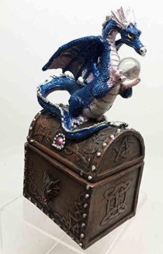 (Figurine Blue Water Dragon Guarding Orb On Treasure Jewelry Trinket Box Utility)