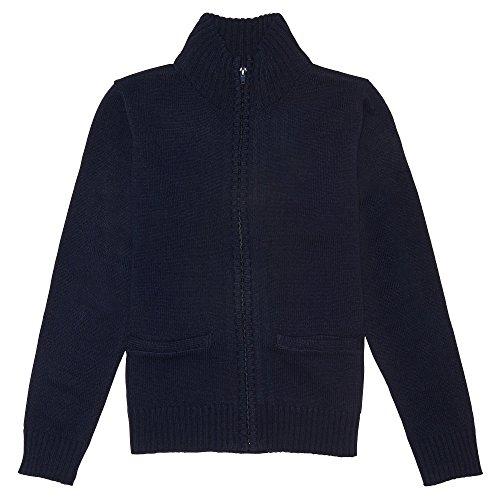 Sweater Cardigan Uniform School (French Toast Big Boys' Zip Front Sweater, Navy, L (10/12))