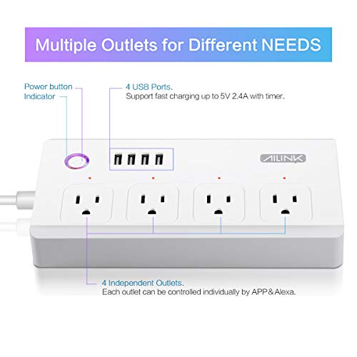 WiFi Power Strip Work with Alexa Smart Power Board AILINK Timer Schedule, Surge Protector with 4 Outlets and 4 USB Ports White by AILINK (Image #6)