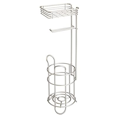mDesign Metal Toilet Paper Holder Stand/Dispenser, Shelf, 3 Rolls