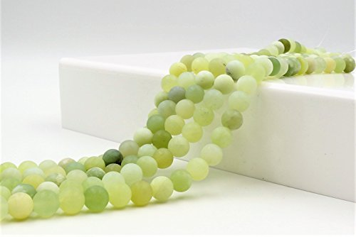 Matte Finish Link - Goodbead Natural Burma Jade Smooth Round-Cut Matte Finish Gemstone Beads 15.5