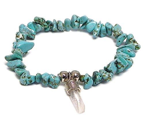 Mia Jewel Shop Quartz Crystal Dangle Chip Stone Stretch Bracelet (Turquoise)
