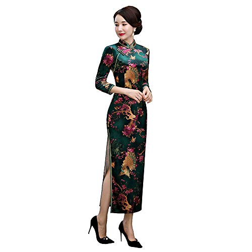 Women's Shanghai Story Peacock Floral Embroidery Velvet Long Cheongsam Chinese Qipao Dress(Large,Green Silk)