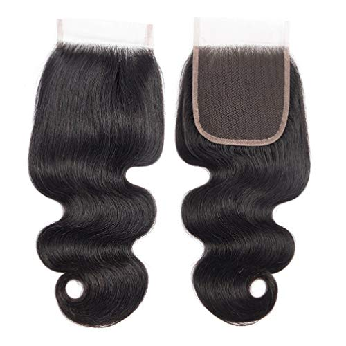 10A Body Wave Closure 100% Unprocessed Brazilian Virgin Human Hair 4X4 Free Part Lace Closure Nature Black(Free part 10inch)