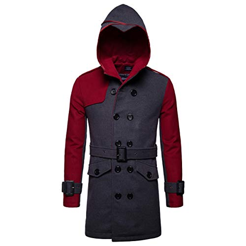 AOWOFS Men's Winter Mid Long Wool Blend Coat Double Breasted Warm Overcoat Stitching Color Trench Coat