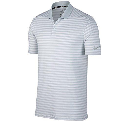 NIKE Mens Dry Victory Stripe Polo Golf Shirt Pure Platinum/White/Black a14y6BW