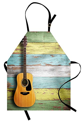 Ambesonne Music Apron, Acoustic Guitar on Colorful Painted Aged Wooden Planks Rustic Country Design Print, Unisex Kitchen Bib Apron with Adjustable Neck for Cooking Baking Gardening, Multicolor for $<!--$19.95-->