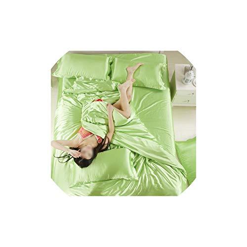Duvet Cover Sets Satin Silk Bedding Sets Home Textile Bed Set Bedclothes Duvet Cover Flat Sheet Pillowcases,17,Twin
