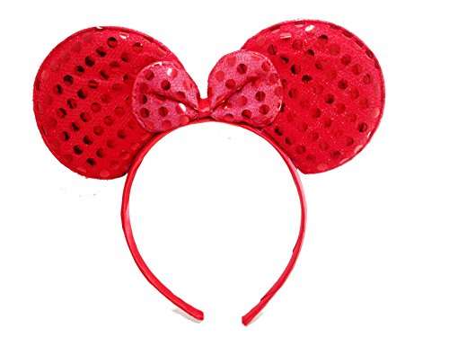 Price comparison product image MeeTHan Mickey Mouse Minnie Mouse Ears Headband Sequin Red Red : M1 (Red)