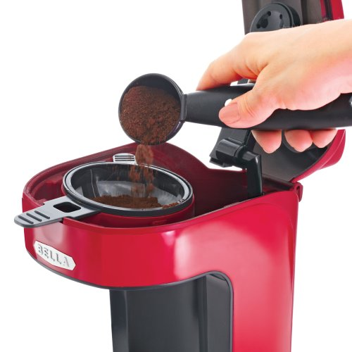 BELLA 13711 One Scoop One Cup Coffee Maker, Red