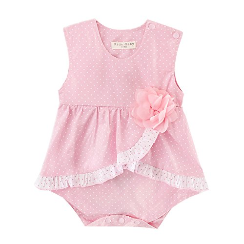 [Sanlutoz Baby Girl Clothes Pink Polka Dots Bodysuit Romper Jumpsuit Flower Outfits (0-6M, Pink)] (Cute Army Girl Halloween Costumes)