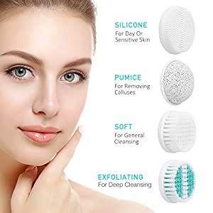 【2019 Upgraded】ETEREAUTY Facial Cleansing Brush, Waterproof Face Brush with 4 Brush Heads and a Protective Travel Case – Deep Cleansing, Gentle Exfoliating, Removing Blackhead for Face and Body, Green