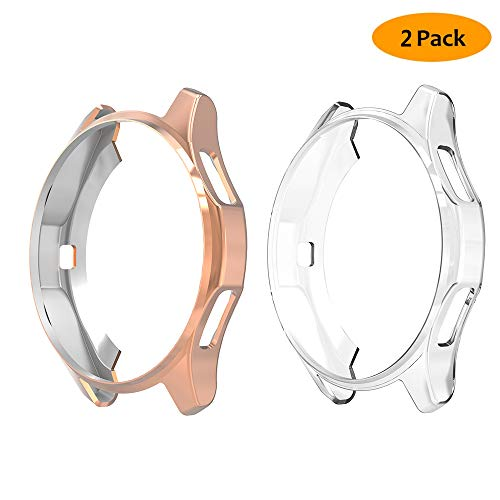[2 Packs] Hianjoo Compatible for Samsung Galaxy Watch 42mm Case, Soft TPU Protective Bumper Shell Cover for Samsung Galaxy Watch 42mm - Clear/Rose Gold