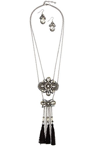 Je Me Costume (KARMAS CANVAS ORNATE CRYSTAL BEADED TASSLE NECKLACE SET (SILVER/BLACK))