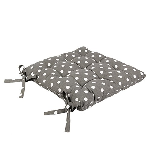 """Icrafts India Grey Cotton Chair Pad - Seat Cushion 14.5"""" -"""