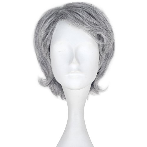 Miss U Hair Men's Short Wavy Silver Grey Color Agedness Movie Cosplay Costume Wig C301