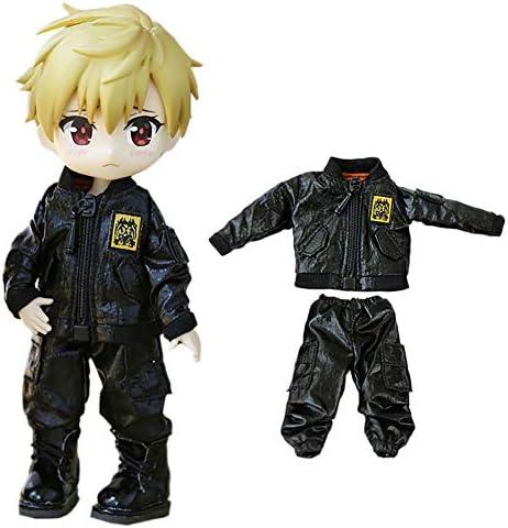 rakulifey オビツ11服 ジャケット OB11サイズ衣装セット コート パンツ オビツドール11cm用服 可愛2点セット (ブラック)