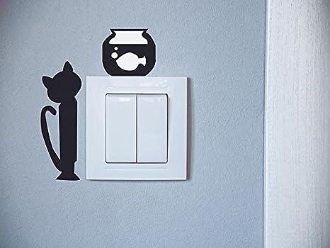 Oedim Pegatinas Vinilo Gato Pecera | 16x21 cm | Adhesivo Resistente de Fácil Aplicación | Pegatina Adhesiva Decorativa de Diseño Elegante: Amazon.es: Hogar