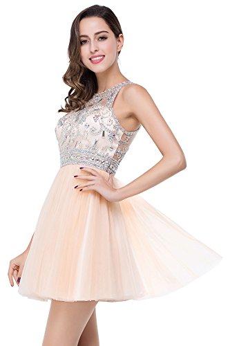 Abendkleider MisShow Tüll Paillette mit Strass Ballkleider Champagner Cocktailkleider Damen Brautjungfernkleider Elegant qxCwn16xU