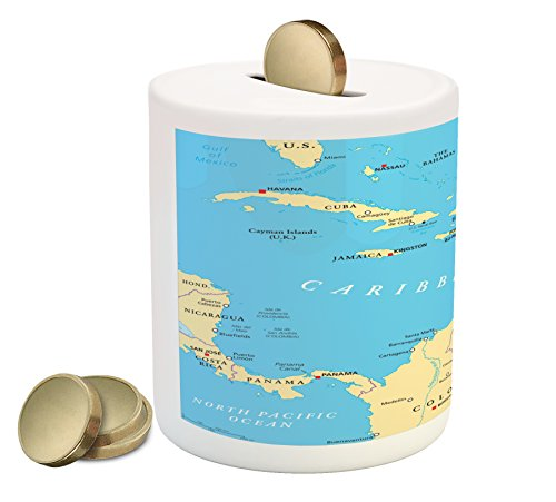 Wanderlust Coin Box Bank By Ambesonne  Caribbean Political Map Capitals National Borders Important Cities Rivers Lakes  Printed Ceramic Coin Bank Money Box For Cash Saving  Blue Ivory