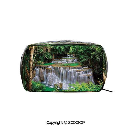 Rectangle Beauty Girl And Women Cosmetic Bags Stunning View of Waterfall in Kanjanaburi Stream Crossing Forest Printed Storage Bags for Girls Travel