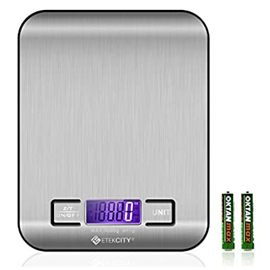 Etekcity Digital Multifunction Stainless Steel Kitchen Food Scale, 11lb 5kg, Silver
