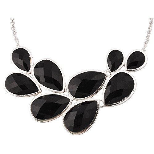 JANE STONE Black Party Jewelry Fashion Statement Pendant Necklace for Women (Fn0564-S-Black) ()