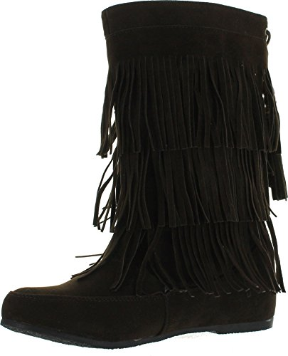 West Blvd Lima - Womens Western Fringe 3-Tier Moccasin Flat - Faux Suede Mid Calf Boots