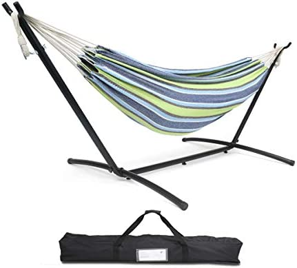 FORSTEEL 9ft Portable Hammock Stand, Universal Heavy Duty Steel Stand with Hammock, for Outdoor Patio with Carrying Case 450 lbs Capacity Blue Green Stripes
